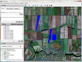 Наложение трека на фотоснимки площадей из космоса в программе Google Earth